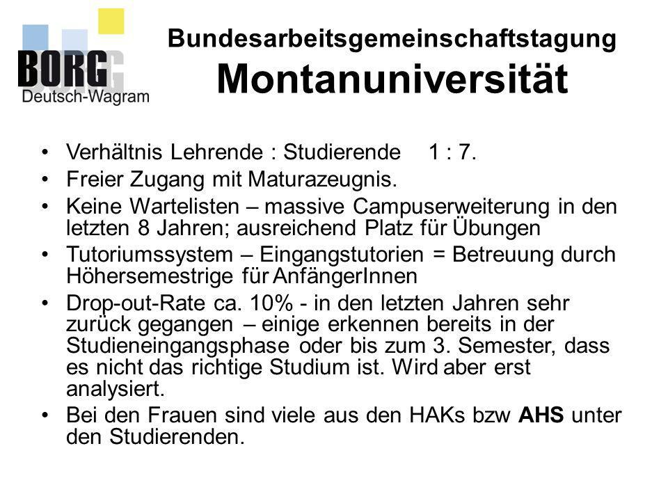 Bundesarbeitsgemeinschaftstagung Montanuniversität Verhältnis Lehrende : Studierende 1 : 7. Freier Zugang mit Maturazeugnis. Keine Wartelisten – massi