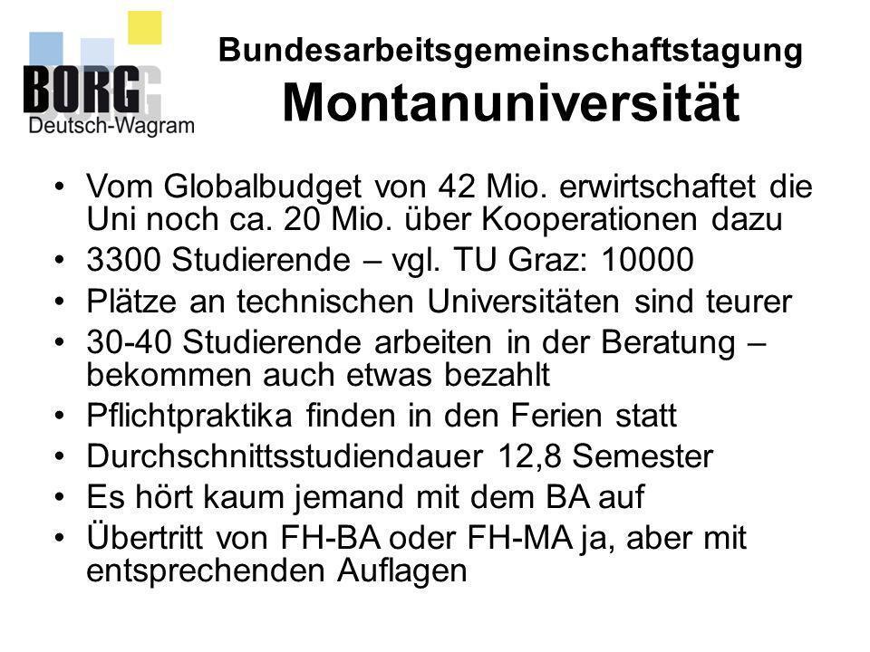 Bundesarbeitsgemeinschaftstagung Montanuniversität Vom Globalbudget von 42 Mio. erwirtschaftet die Uni noch ca. 20 Mio. über Kooperationen dazu 3300 S