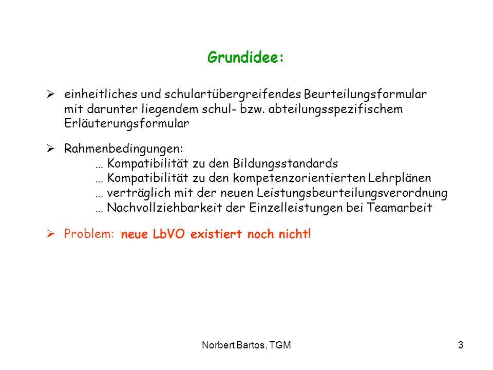 Norbert Bartos, TGM3 Grundidee: einheitliches und schulartübergreifendes Beurteilungsformular mit darunter liegendem schul- bzw. abteilungsspezifische