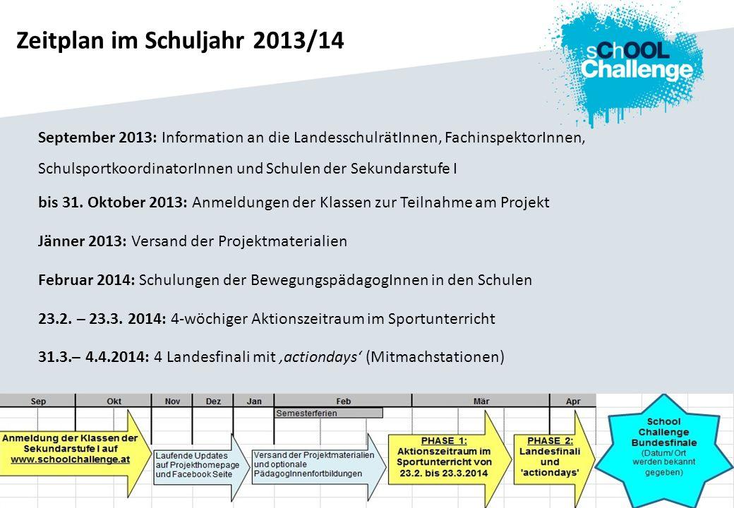 Zeitplan im Schuljahr 2013/14 September 2013: Information an die LandesschulrätInnen, FachinspektorInnen, SchulsportkoordinatorInnen und Schulen der S