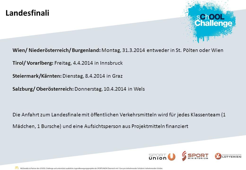 Landesfinali Wien/ Niederösterreich/ Burgenland: Montag, 31.3.2014 entweder in St. Pölten oder Wien Tirol/ Vorarlberg: Freitag, 4.4.2014 in Innsbruck