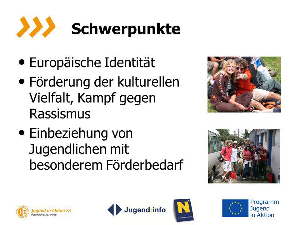 Schwerpunkte Europäische Identität Förderung der kulturellen Vielfalt, Kampf gegen Rassismus Einbeziehung von Jugendlichen mit besonderem Förderbedarf