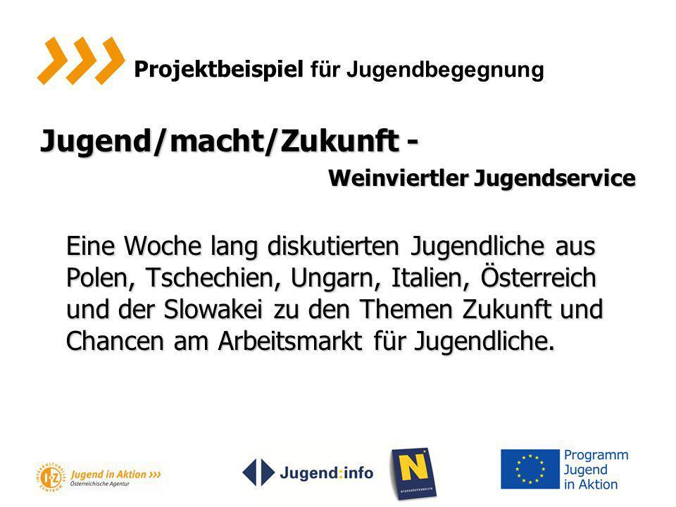 Projektbeispiel für Jugendbegegnung Jugend/macht/Zukunft - Weinviertler Jugendservice Eine Woche lang diskutierten Jugendliche aus Polen, Tschechien,