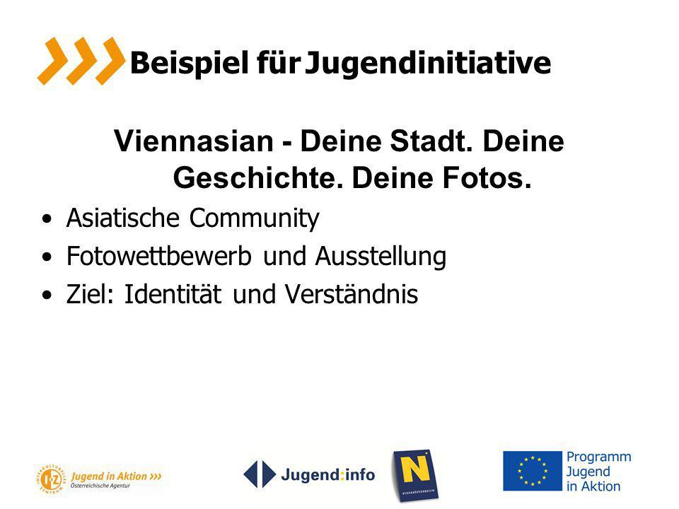 Beispiel für Jugendinitiative Viennasian - Deine Stadt. Deine Geschichte. Deine Fotos. Asiatische Community Fotowettbewerb und Ausstellung Ziel: Ident