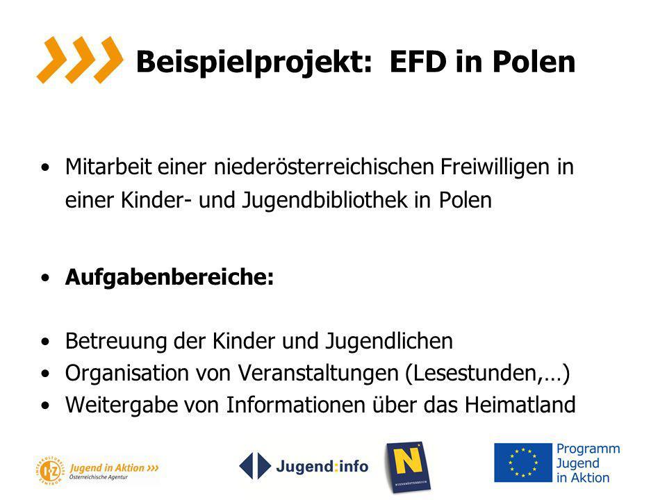 Beispielprojekt: EFD in Polen Mitarbeit einer niederösterreichischen Freiwilligen in einer Kinder- und Jugendbibliothek in Polen Aufgabenbereiche: Bet