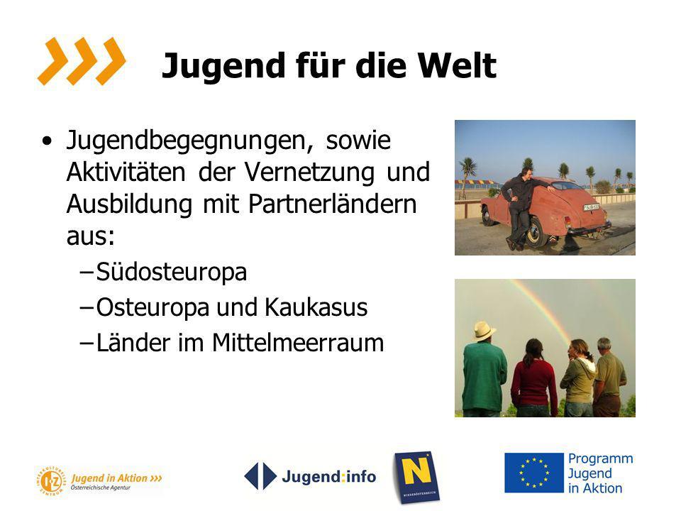 Jugend für die Welt Jugendbegegnungen, sowie Aktivitäten der Vernetzung und Ausbildung mit Partnerländern aus: –Südosteuropa –Osteuropa und Kaukasus –
