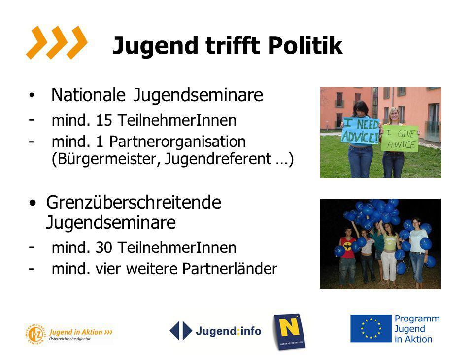 Jugend trifft Politik Nationale Jugendseminare - mind. 15 TeilnehmerInnen - mind. 1 Partnerorganisation (Bürgermeister, Jugendreferent …) Grenzübersch