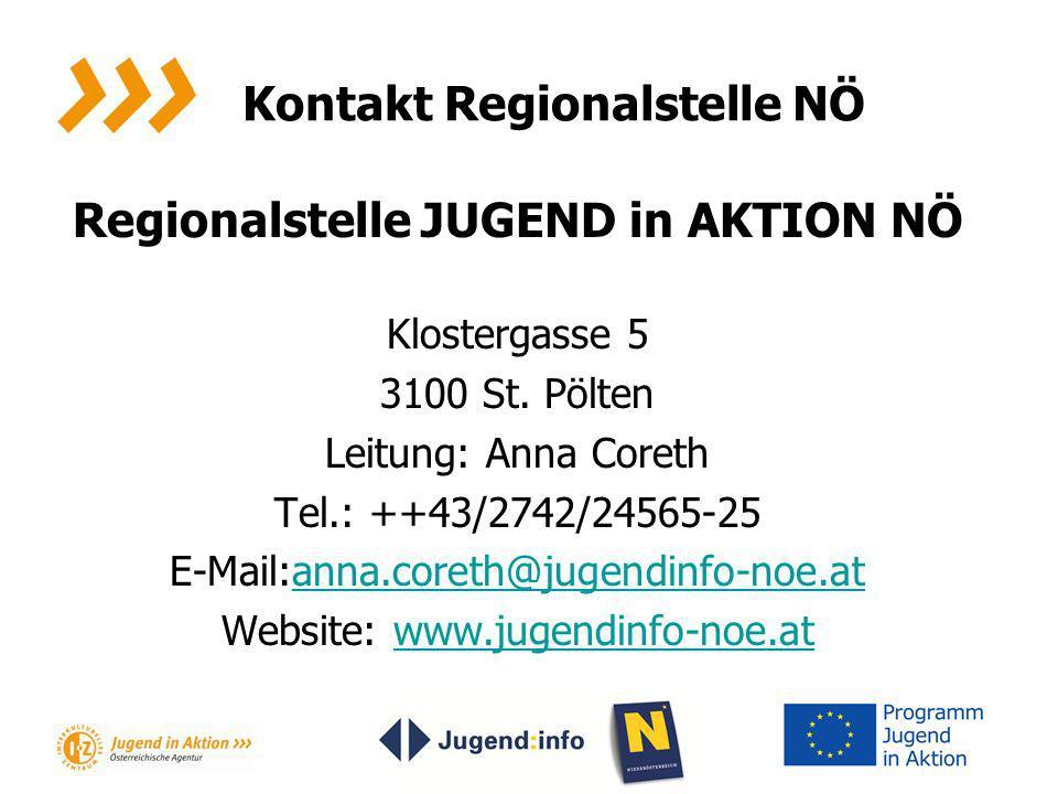 Kontakt Regionalstelle NÖ Regionalstelle JUGEND in AKTION NÖ Klostergasse 5 3100 St. Pölten Leitung: Anna Coreth Tel.: ++43/2742/24565-25 E-Mail:anna.