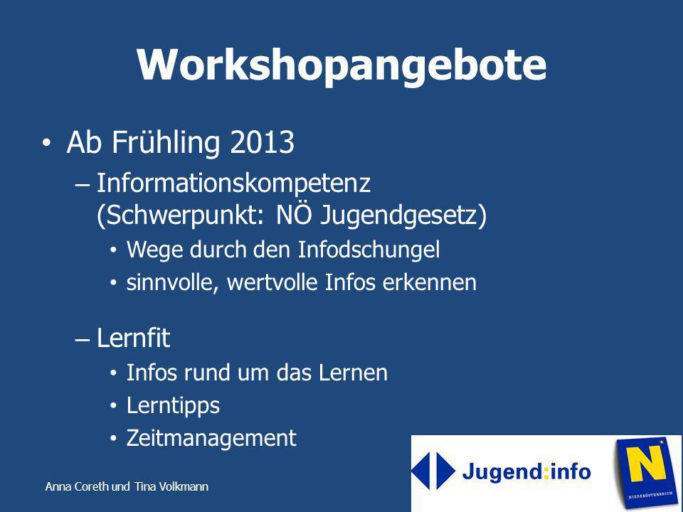 Anna Coreth und Tina Volkmann Workshopangebote Ab Frühling 2013 – Informationskompetenz (Schwerpunkt: NÖ Jugendgesetz) Wege durch den Infodschungel si