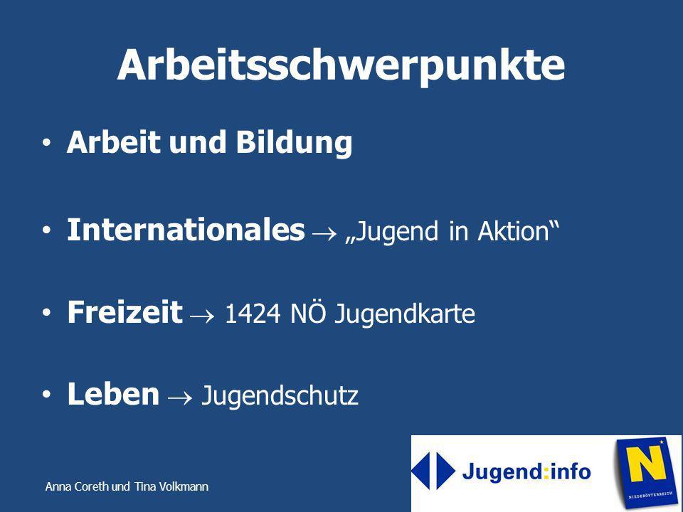 Anna Coreth und Tina Volkmann Befragungsergebnisse Informationskanäle – Homepage – Mail – Telefonate Themen Schwerpunkte – Arbeit und Bildung – Jugendschutz – Internationales