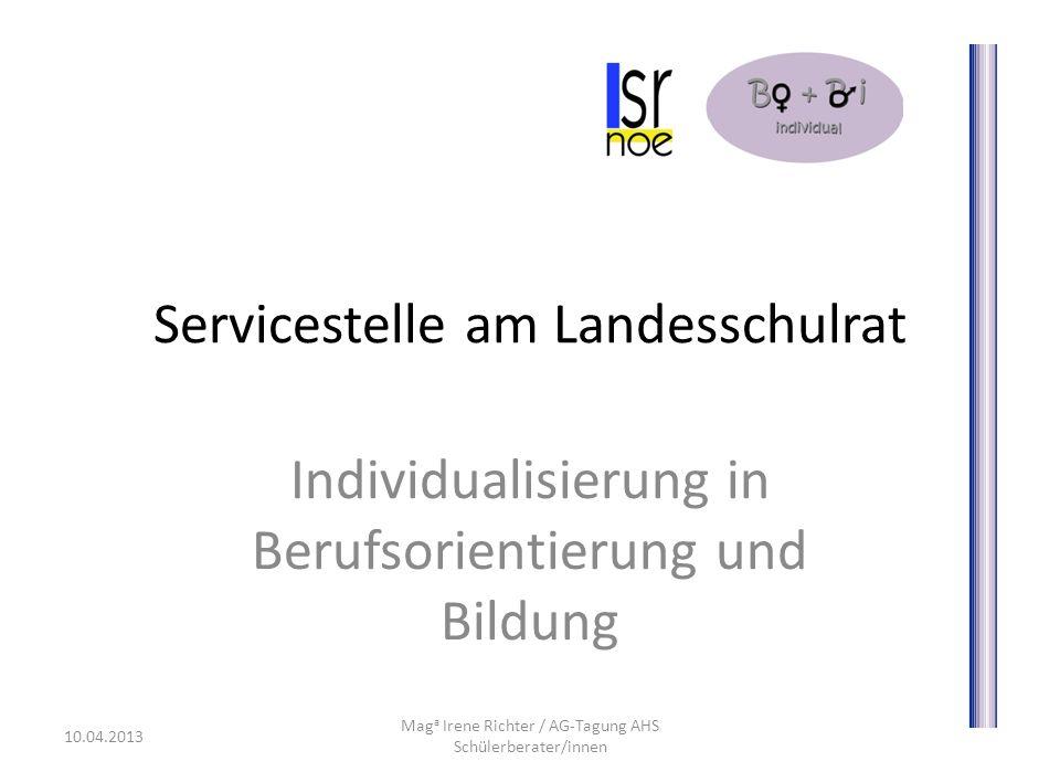 Servicestelle am Landesschulrat Individualisierung in Berufsorientierung und Bildung 10.04.2013 Mag a Irene Richter / AG-Tagung AHS Schülerberater/innen