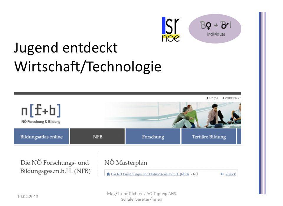 Jugend entdeckt Wirtschaft/Technologie Mag a Irene Richter / AG-Tagung AHS Schülerberater/innen 10.04.2013