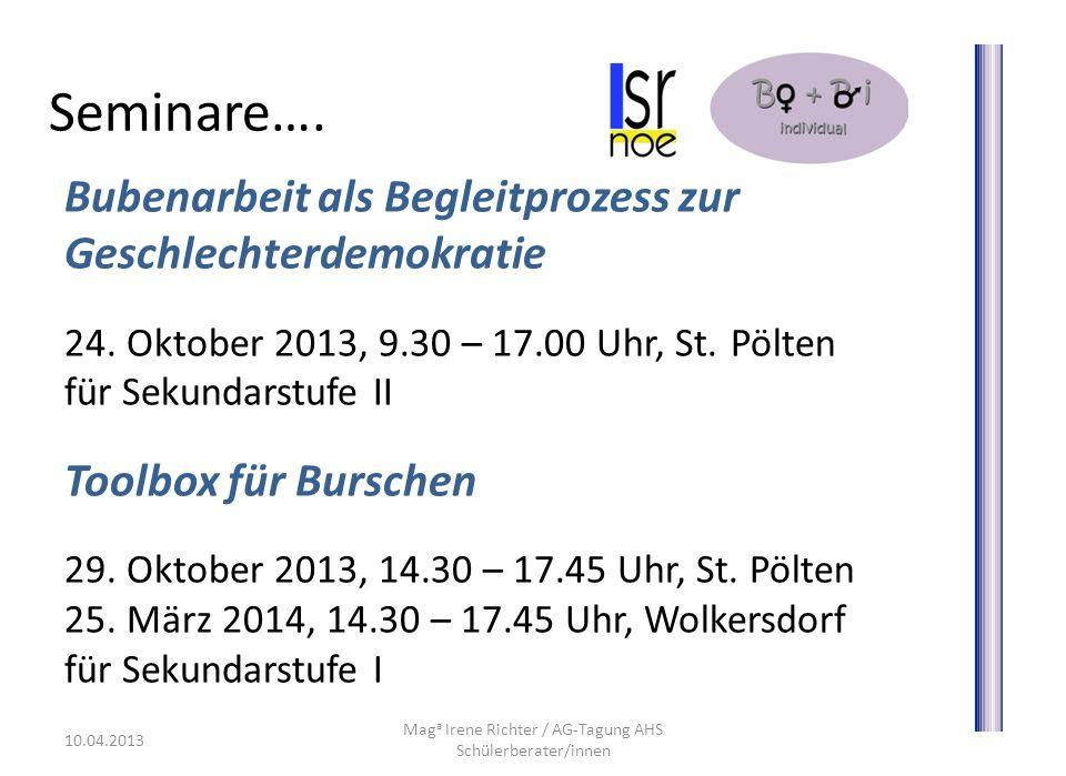 Seminare….Bubenarbeit als Begleitprozess zur Geschlechterdemokratie 24.