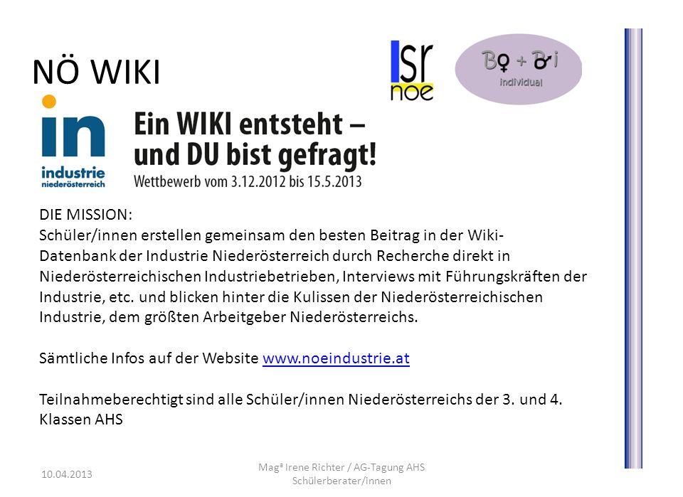 www.bobi.lsr-noe.gv.at Mag a Irene Richter / AG-Tagung AHS Schülerberater/innen 10.04.2013