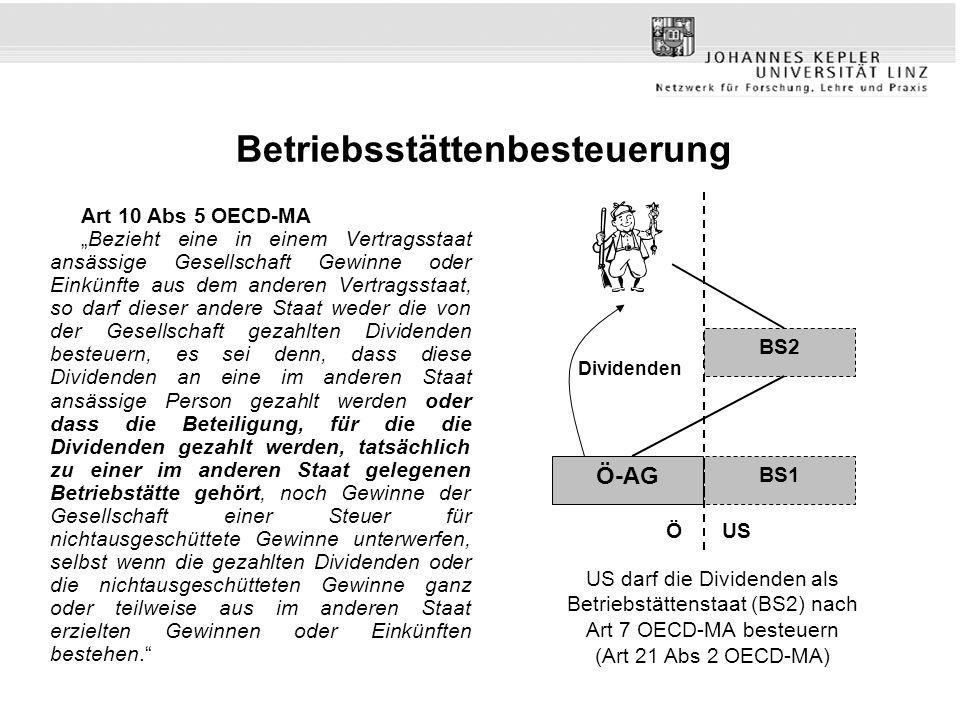 Betriebsstättenbesteuerung Art 10 Abs 5 OECD-MA Bezieht eine in einem Vertragsstaat ansässige Gesellschaft Gewinne oder Einkünfte aus dem anderen Vert