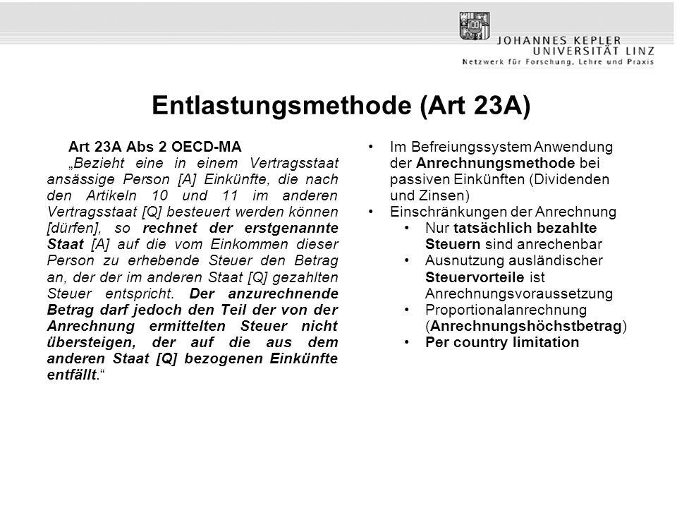 Entlastungsmethode (Art 23A) Art 23A Abs 2 OECD-MA Bezieht eine in einem Vertragsstaat ansässige Person [A] Einkünfte, die nach den Artikeln 10 und 11
