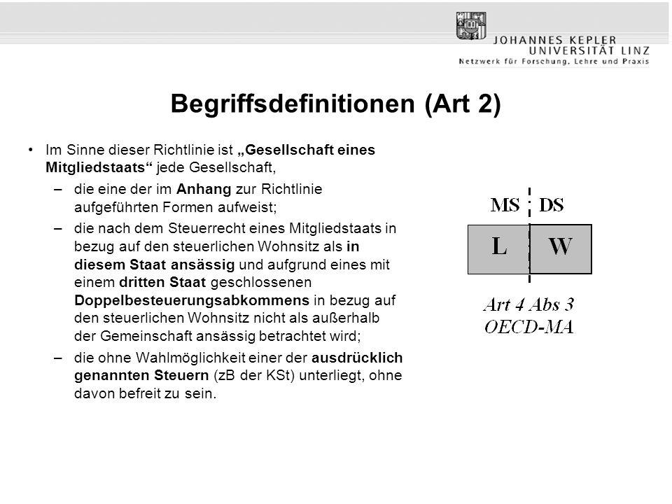 Begriffsdefinitionen (Art 2) Im Sinne dieser Richtlinie ist Gesellschaft eines Mitgliedstaats jede Gesellschaft, –die eine der im Anhang zur Richtlini