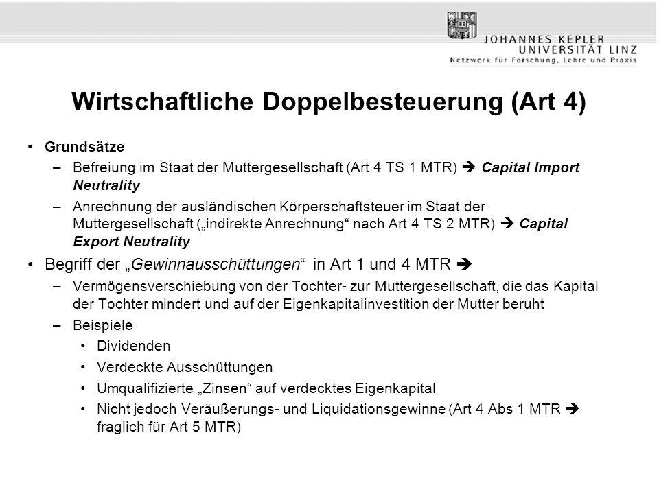 Wirtschaftliche Doppelbesteuerung (Art 4) Grundsätze –Befreiung im Staat der Muttergesellschaft (Art 4 TS 1 MTR) Capital Import Neutrality –Anrechnung