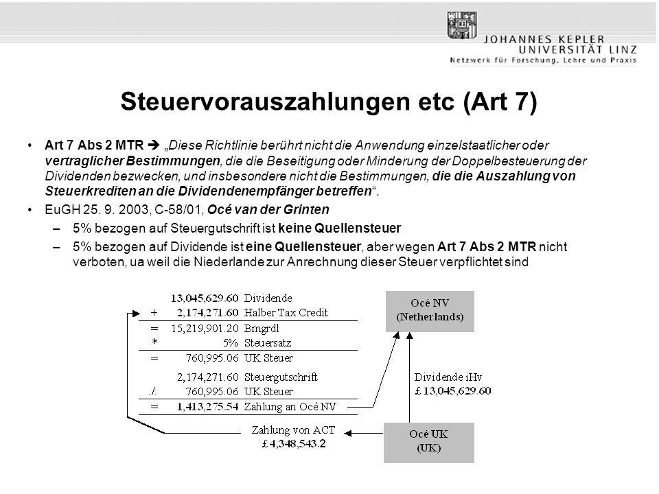 Steuervorauszahlungen etc (Art 7) Art 7 Abs 2 MTR Diese Richtlinie berührt nicht die Anwendung einzelstaatlicher oder vertraglicher Bestimmungen, die