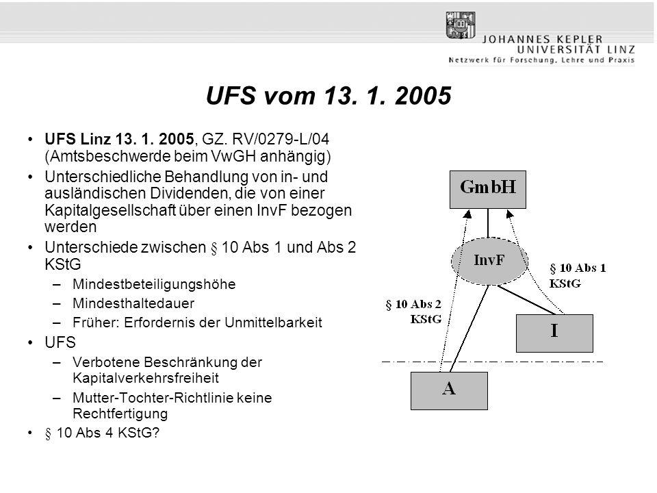 UFS vom 13. 1. 2005 UFS Linz 13. 1. 2005, GZ. RV/0279-L/04 (Amtsbeschwerde beim VwGH anhängig) Unterschiedliche Behandlung von in- und ausländischen D
