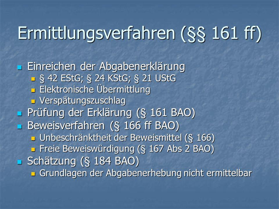 Ermittlungsverfahren (§§ 161 ff) Einreichen der Abgabenerklärung Einreichen der Abgabenerklärung § 42 EStG; § 24 KStG; § 21 UStG § 42 EStG; § 24 KStG;