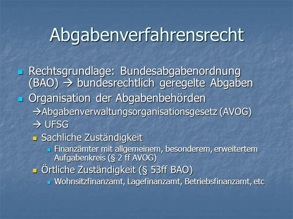 Abgabenverfahrensrecht Rechtsgrundlage: Bundesabgabenordnung (BAO) bundesrechtlich geregelte Abgaben Rechtsgrundlage: Bundesabgabenordnung (BAO) bunde