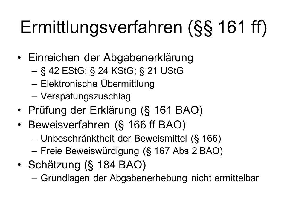 Ermittlungsverfahren (§§ 161 ff) Einreichen der Abgabenerklärung –§ 42 EStG; § 24 KStG; § 21 UStG –Elektronische Übermittlung –Verspätungszuschlag Prü