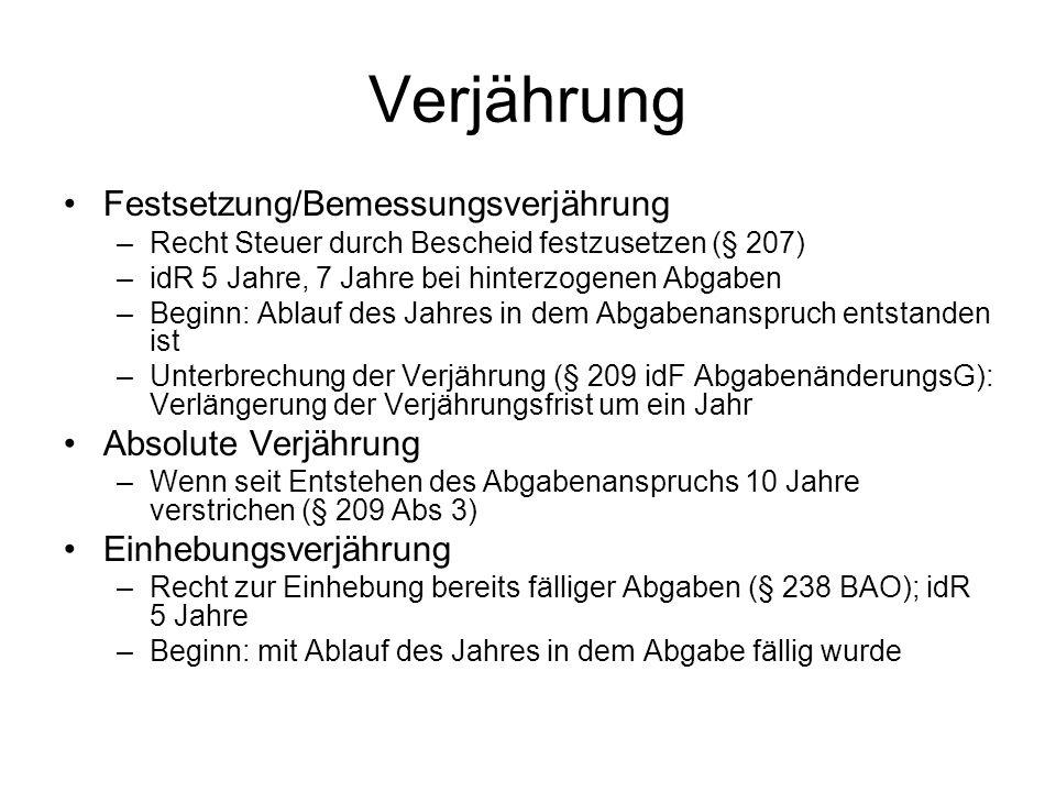 Abgabenverfahrensrecht Rechtsgrundlage: Bundesabgabenordnung (BAO) bundesrechtlich geregelte Abgaben Organisation der Abgabenbehörden Abgabenverwaltungsorganisationsgesetz (AVOG) UFSG –Sachliche Zuständigkeit Finanzämter mit allgemeinem, besonderem, erweitertem Aufgabenkreis (§ 2 ff AVOG) –Örtliche Zuständigkeit (§ 53ff BAO) Wohnsitzfinanzamt, Lagefinanzamt, Betriebsfinanzamt, etc