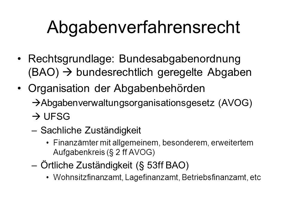Abgabenverfahrensrecht Rechtsgrundlage: Bundesabgabenordnung (BAO) bundesrechtlich geregelte Abgaben Organisation der Abgabenbehörden Abgabenverwaltun