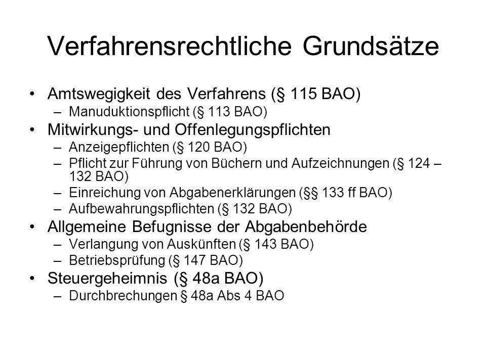 Ermittlungsverfahren (§§ 161 ff) Einreichen der Abgabenerklärung –§ 42 EStG; § 24 KStG; § 21 UStG –Elektronische Übermittlung –Verspätungszuschlag Prüfung der Erklärung (§ 161 BAO) Beweisverfahren (§ 166 ff BAO) –Unbeschränktheit der Beweismittel (§ 166) –Freie Beweiswürdigung (§ 167 Abs 2 BAO) Schätzung (§ 184 BAO) –Grundlagen der Abgabenerhebung nicht ermittelbar