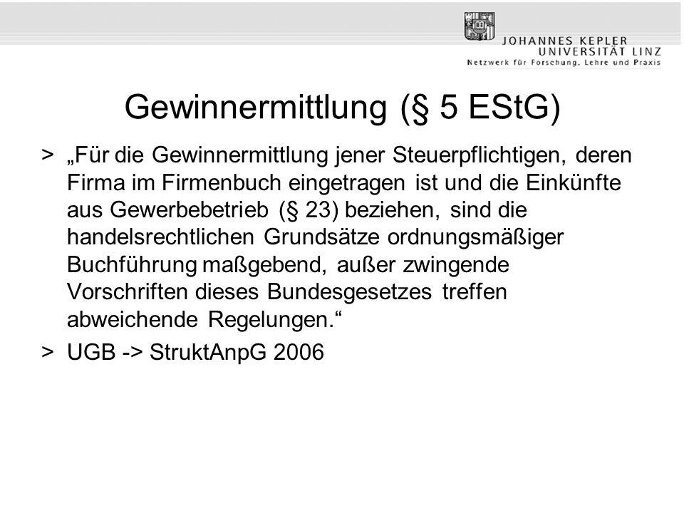 Gewinnermittlung (§ 5 EStG) >Für die Gewinnermittlung jener Steuerpflichtigen, deren Firma im Firmenbuch eingetragen ist und die Einkünfte aus Gewerbe