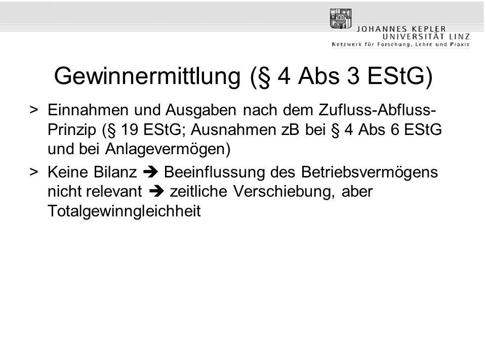 Gewinnermittlung (§ 4 Abs 3 EStG) >Einnahmen und Ausgaben nach dem Zufluss-Abfluss- Prinzip (§ 19 EStG; Ausnahmen zB bei § 4 Abs 6 EStG und bei Anlage