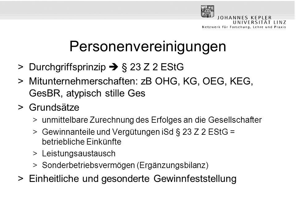 Personenvereinigungen >Durchgriffsprinzip § 23 Z 2 EStG >Mitunternehmerschaften: zB OHG, KG, OEG, KEG, GesBR, atypisch stille Ges >Grundsätze >unmitte