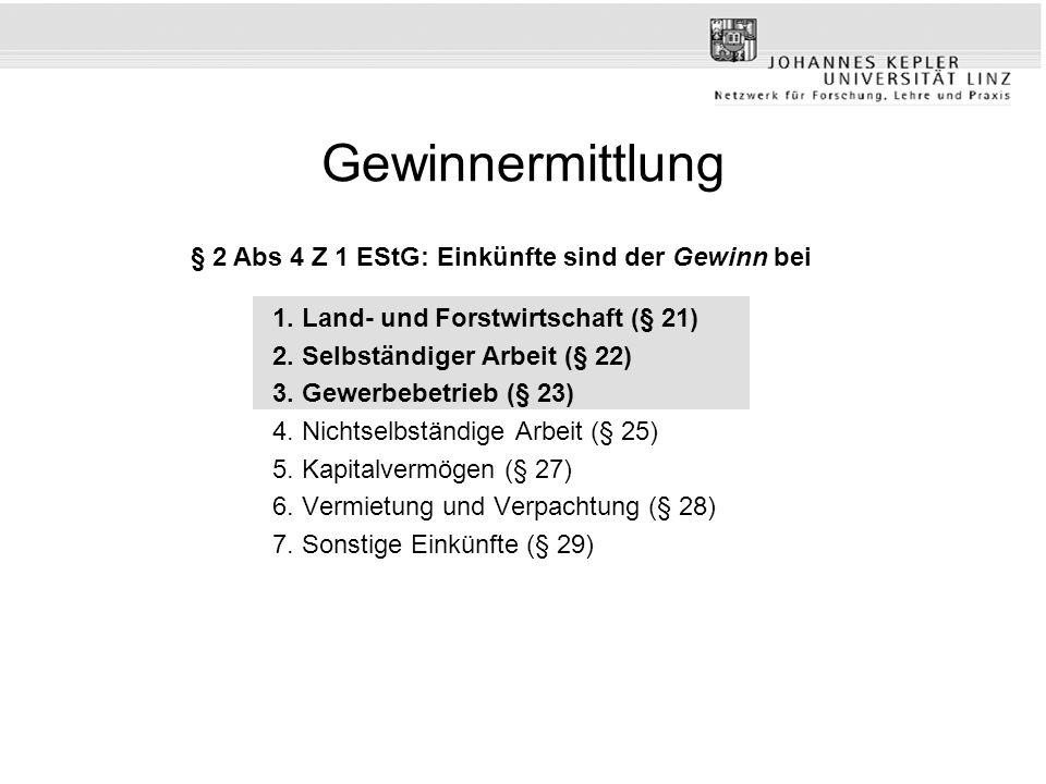 Private Veräußerungsgeschäfte >Spekulationsgeschäfte gem § 30 EStG >Spekulationsfrist (1 bzw 10 Jahre) >Befreiungen (§ 30 Abs 2 EStG), zB für Eigenheime >Unterschiedsbetrag gem § 30 Abs 4 EStG >Freigrenze iHv Euro 440; Verlustausgleich gem § 30 Abs 4 EStG >Veräußerung wesentlicher Beteiligungen gem § 31 EStG >Veräußerung von Anteilen zumindest 1% an einer Körperschaft; 1%ige Beteiligung innerhalb der letzten 5 Jahre; Übergangsregelung in § 124b Z 57 EStG >Unterschiedsbetrag (§ 31 Abs 3 EStG) >Verlustausgleich gem § 31 Abs 5 EStG >Subsidiariät gegenüber § 30 EStG (Begünstigung des § 37 Abs 4 Z 2 EStG nur bei § 31 EStG) >Subsidiäre Einkünfte (kommen nicht zur Anwendung, wenn Betriebsvermögen veräußert wird – Ausnahme: Grund und Boden bei § 4 Abs 1 EStG – Achtung: StruktAnpG 2006)!