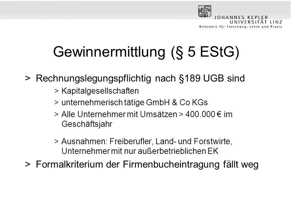 Gewinnermittlung (§ 5 EStG) >Rechnungslegungspflichtig nach §189 UGB sind >Kapitalgesellschaften >unternehmerisch tätige GmbH & Co KGs >Alle Unternehm