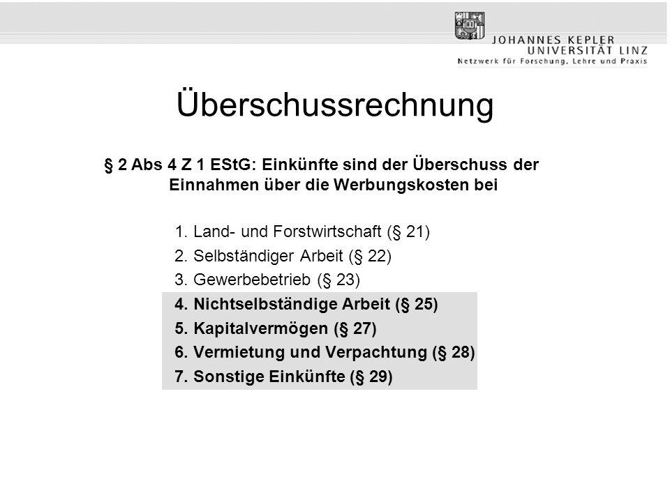 Überschussrechnung 1. Land- und Forstwirtschaft (§ 21) 2. Selbständiger Arbeit (§ 22) 3. Gewerbebetrieb (§ 23) 4. Nichtselbständige Arbeit (§ 25) 5. K