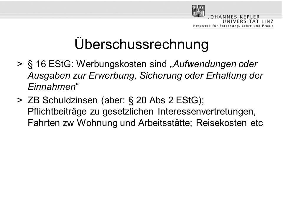 Überschussrechnung >§ 16 EStG: Werbungskosten sind Aufwendungen oder Ausgaben zur Erwerbung, Sicherung oder Erhaltung der Einnahmen >ZB Schuldzinsen (