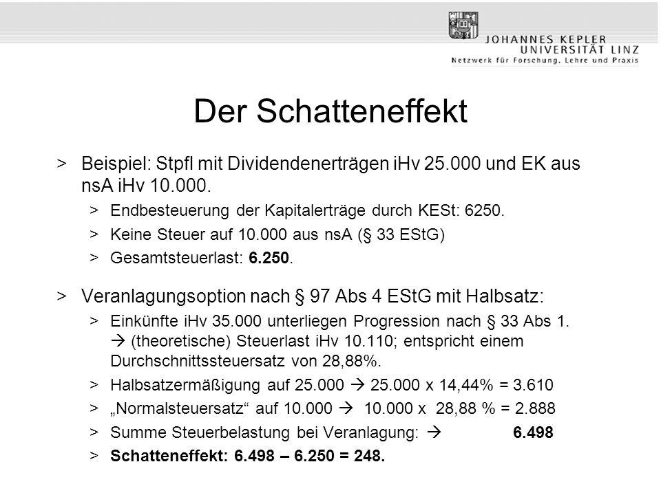 Der Schatteneffekt >Beispiel: Stpfl mit Dividendenerträgen iHv 25.000 und EK aus nsA iHv 10.000. >Endbesteuerung der Kapitalerträge durch KESt: 6250.