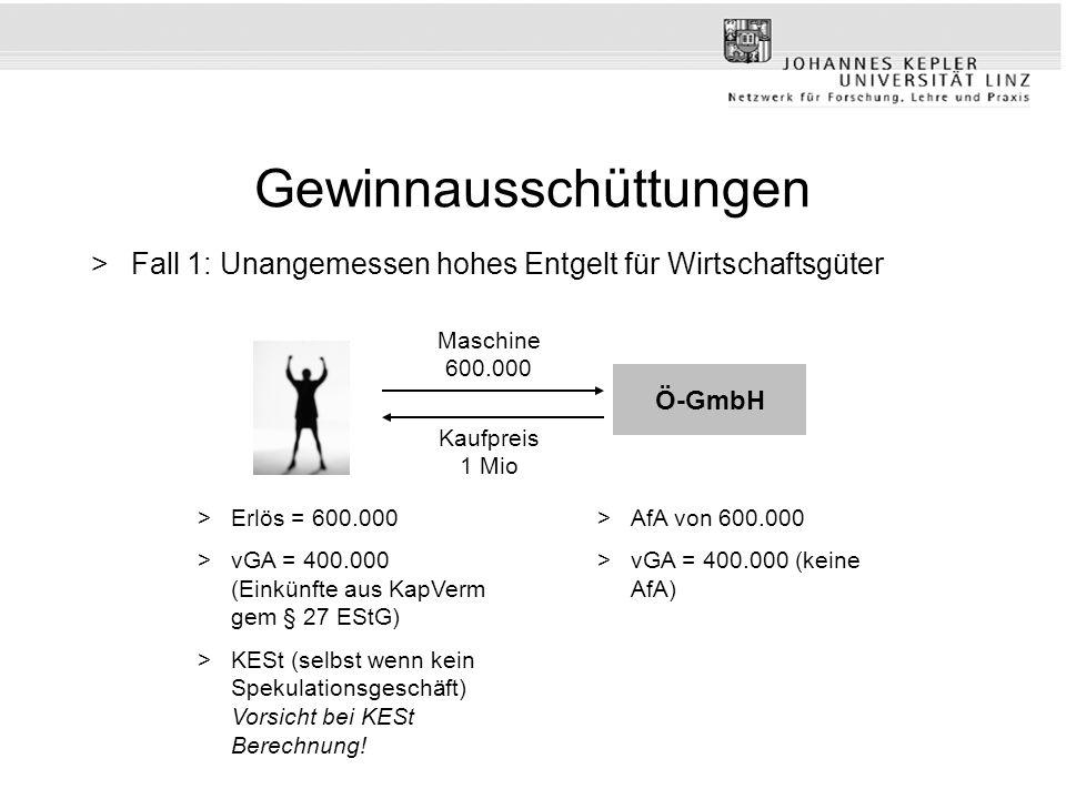 Gewinnausschüttungen >Fall 1: Unangemessen hohes Entgelt für Wirtschaftsgüter Kaufpreis 1 Mio Maschine 600.000 >Erlös = 600.000 >vGA = 400.000 (Einkün
