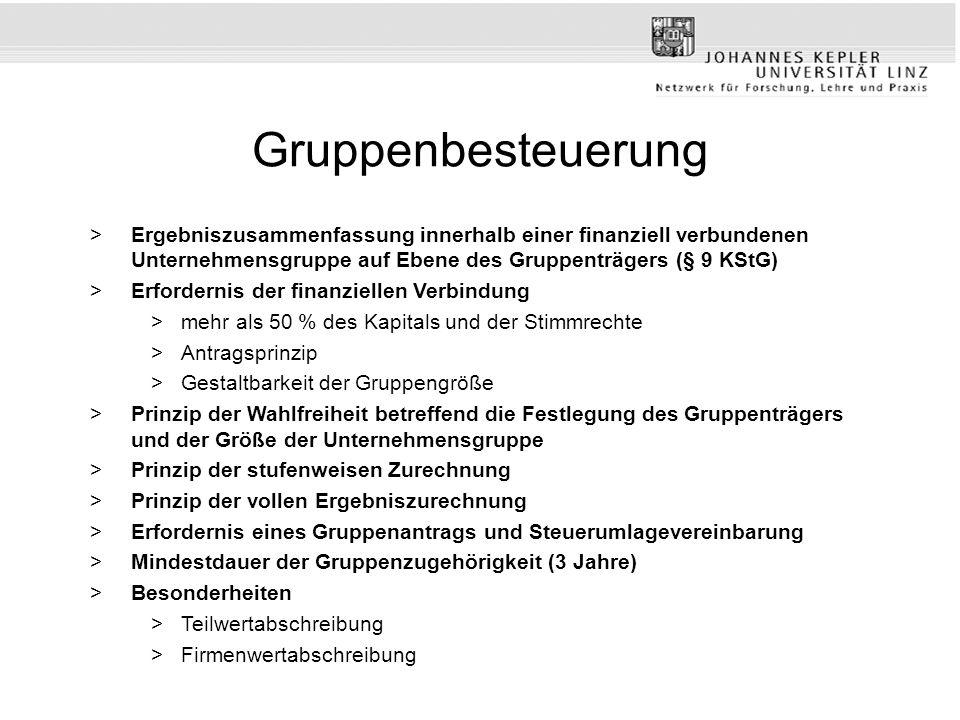 Gruppenbesteuerung >Ergebniszusammenfassung innerhalb einer finanziell verbundenen Unternehmensgruppe auf Ebene des Gruppenträgers (§ 9 KStG) >Erforde