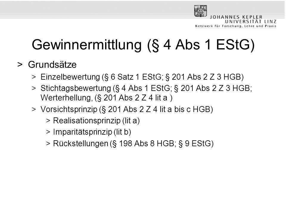 Gewinnermittlung (§ 4 Abs 1 EStG) >Grundsätze >Einzelbewertung (§ 6 Satz 1 EStG; § 201 Abs 2 Z 3 HGB) >Stichtagsbewertung (§ 4 Abs 1 EStG; § 201 Abs 2 Z 3 HGB; Werterhellung, (§ 201 Abs 2 Z 4 lit a ) >Vorsichtsprinzip (§ 201 Abs 2 Z 4 lit a bis c HGB) >Realisationsprinzip (lit a) >Imparitätsprinzip (lit b) >Rückstellungen (§ 198 Abs 8 HGB; § 9 EStG)