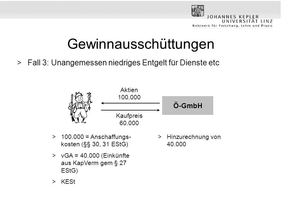 Gewinnausschüttungen >Fall 3: Unangemessen niedriges Entgelt für Dienste etc Kaufpreis 60.000 Aktien 100.000 >100.000 = Anschaffungs- kosten (§§ 30, 31 EStG) >vGA = 40.000 (Einkünfte aus KapVerm gem § 27 EStG) >KESt Ö-GmbH >Hinzurechnung von 40.000