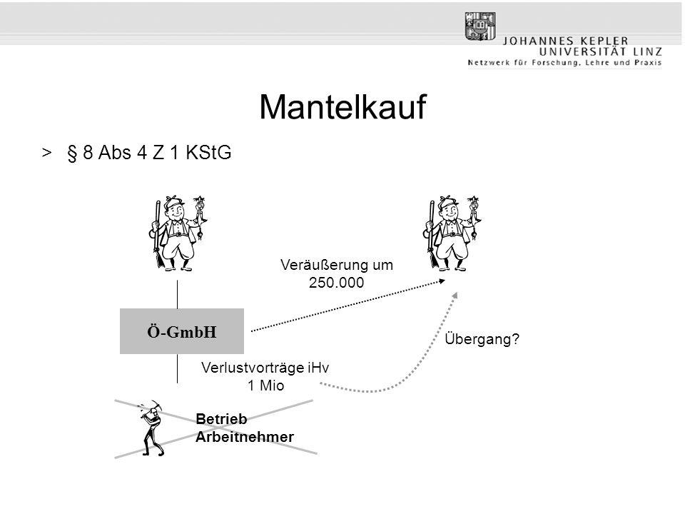 Mantelkauf >§ 8 Abs 4 Z 1 KStG Verlustvorträge iHv 1 Mio Veräußerung um 250.000 Ö-GmbH Betrieb Arbeitnehmer Übergang?