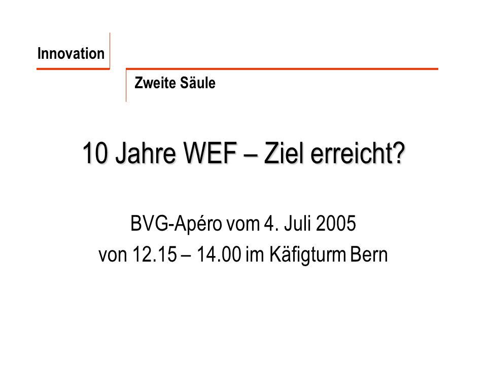 10 Jahre WEF – Ziel erreicht? BVG-Apéro vom 4. Juli 2005 von 12.15 – 14.00 im Käfigturm Bern Innovation Zweite Säule