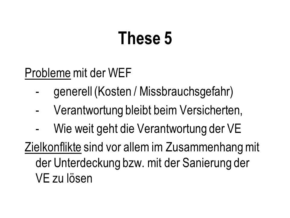 These 5 Probleme mit der WEF -generell (Kosten / Missbrauchsgefahr) -Verantwortung bleibt beim Versicherten, - Wie weit geht die Verantwortung der VE Zielkonflikte sind vor allem im Zusammenhang mit der Unterdeckung bzw.