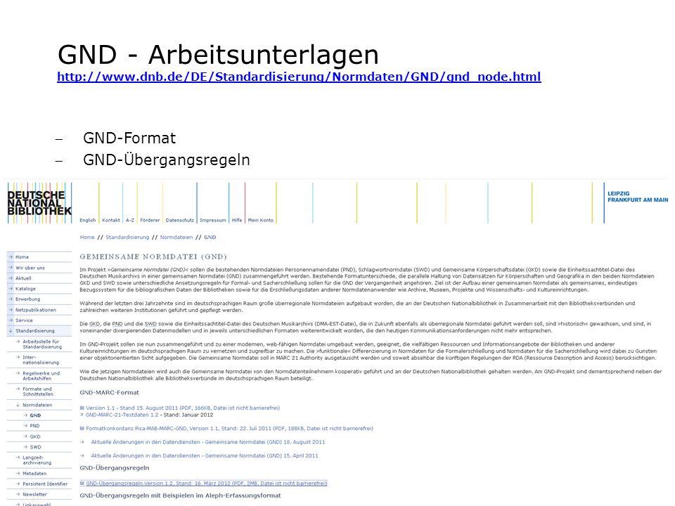 GND - Arbeitsunterlagen http://www.dnb.de/DE/Standardisierung/Normdaten/GND/gnd_node.html http://www.dnb.de/DE/Standardisierung/Normdaten/GND/gnd_node