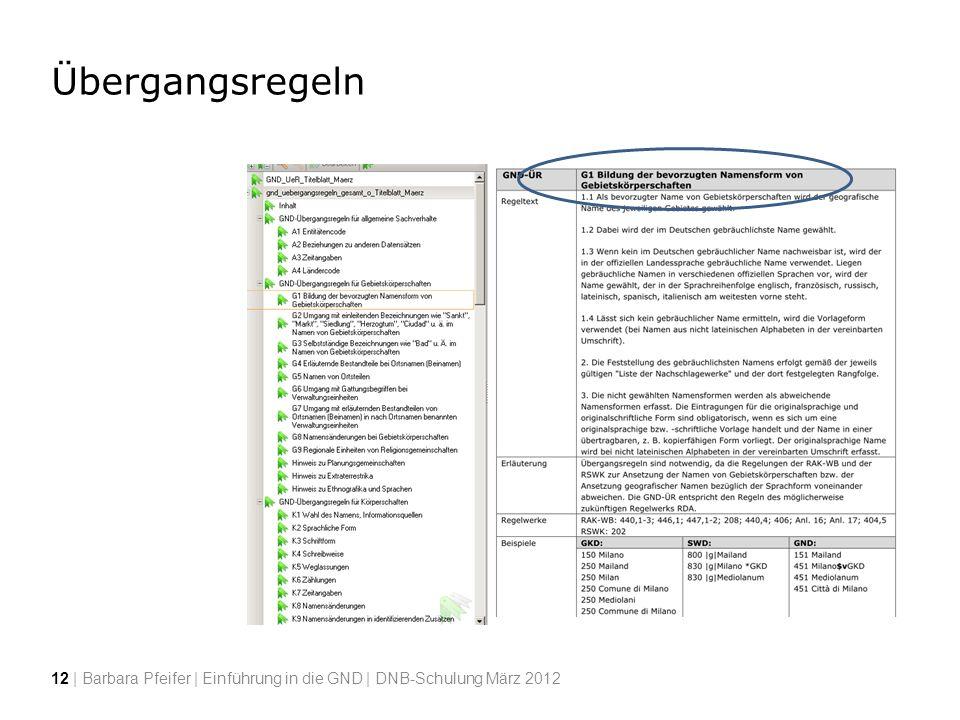 Übergangsregeln 12 | Barbara Pfeifer | Einführung in die GND | DNB-Schulung März 2012