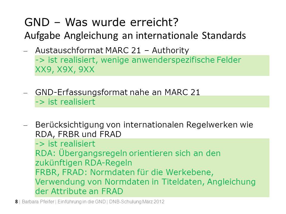 GND – Was wurde erreicht? Aufgabe Angleichung an internationale Standards Austauschformat MARC 21 – Authority -> ist realisiert, wenige anwenderspezif