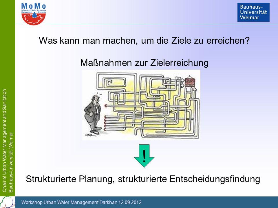 Chair of Urban Water Management and Sanitation Bauhaus-Universität Weimar Workshop Urban Water Management Darkhan 12.09.2012 Was kann man machen, um d