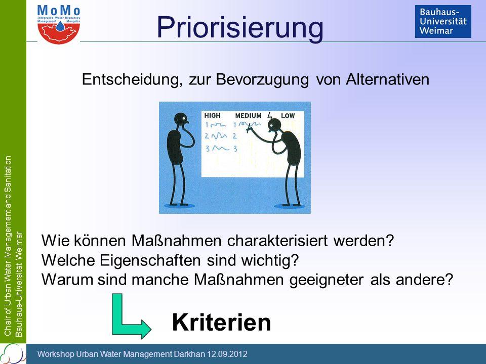 Chair of Urban Water Management and Sanitation Bauhaus-Universität Weimar Workshop Urban Water Management Darkhan 12.09.2012 Wie können Maßnahmen char